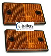 2 x AMBER TRAILER CARAVAN GATE POST SIDE HORSEBOX ADHESIVE REFLECTOR 75x46x10